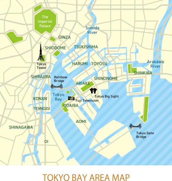 tokyo bay area map ( japanese) - tokyo stock illustrations, clip art, cartoons, & icons