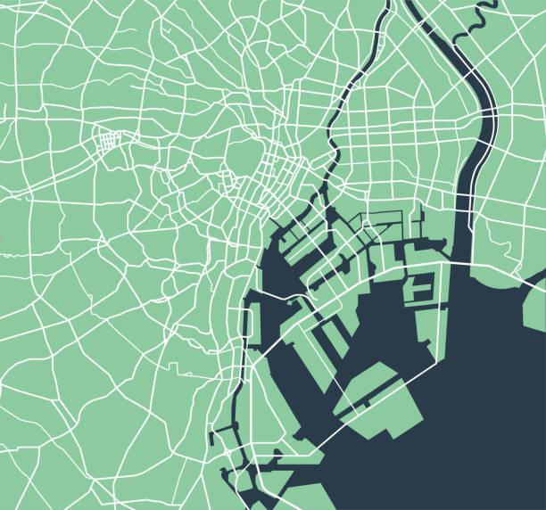 東京湾周辺道路地図 - 東京点のイラスト素材/クリップアート素材/マンガ素材/アイコン素材