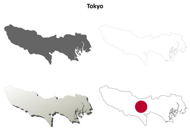 東京空の概要地図セット - 東京点のイラスト素材/クリップアート素材/マンガ素材/アイコン素材