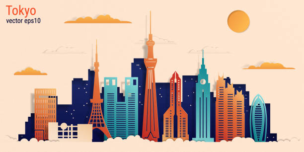 Tokyo city colorful paper cut style, vector stock illustration Tokyo city colorful paper cut style, vector stock illustration. Cityscape with all famous buildings. Skyline Tokyo city composition for design tokyo stock illustrations