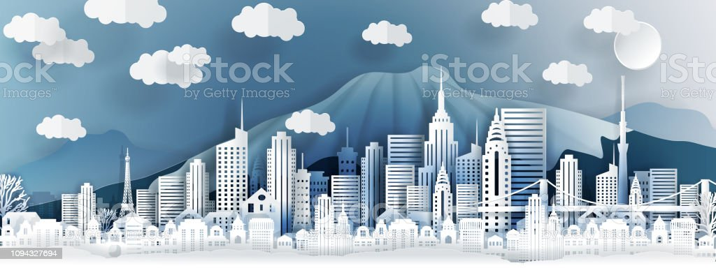 Tokyo city concept, Japan. Paper art city on back with buildings, towers, bridge, clouds. Origami and travel concept, vector paper art illustration. royalty-free tokyo city concept japan paper art city on back with buildings towers bridge clouds origami and travel concept vector paper art illustration stock illustration - download image now
