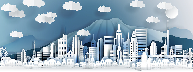 Tokyo city concept, Japan. Paper art city on back with buildings, towers, bridge, clouds. Origami and travel concept, vector paper art illustration.