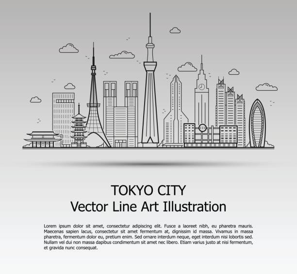 Tokyo City Gray Line Art Vector Illustration of Modern Tokyo City with Skyscrapers. Flat Line Graphic. Typographic Style Banner. The Most Famous Buildings Cityscape on Gray Background. tokyo stock illustrations