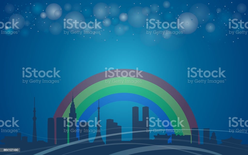 Tokyo City, Japan, Rainbow royalty-free tokyo city japan rainbow stock vector art & more images of architecture