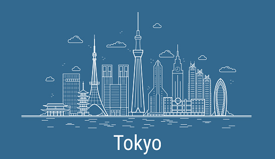 Tokyo city line art Vector. Illustration with all famous towers. Cityscape.