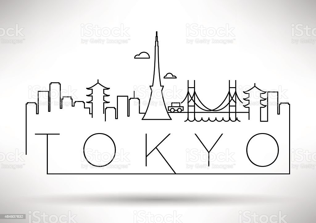 Tokyo City Line Silhouette Typographic Design vector art illustration