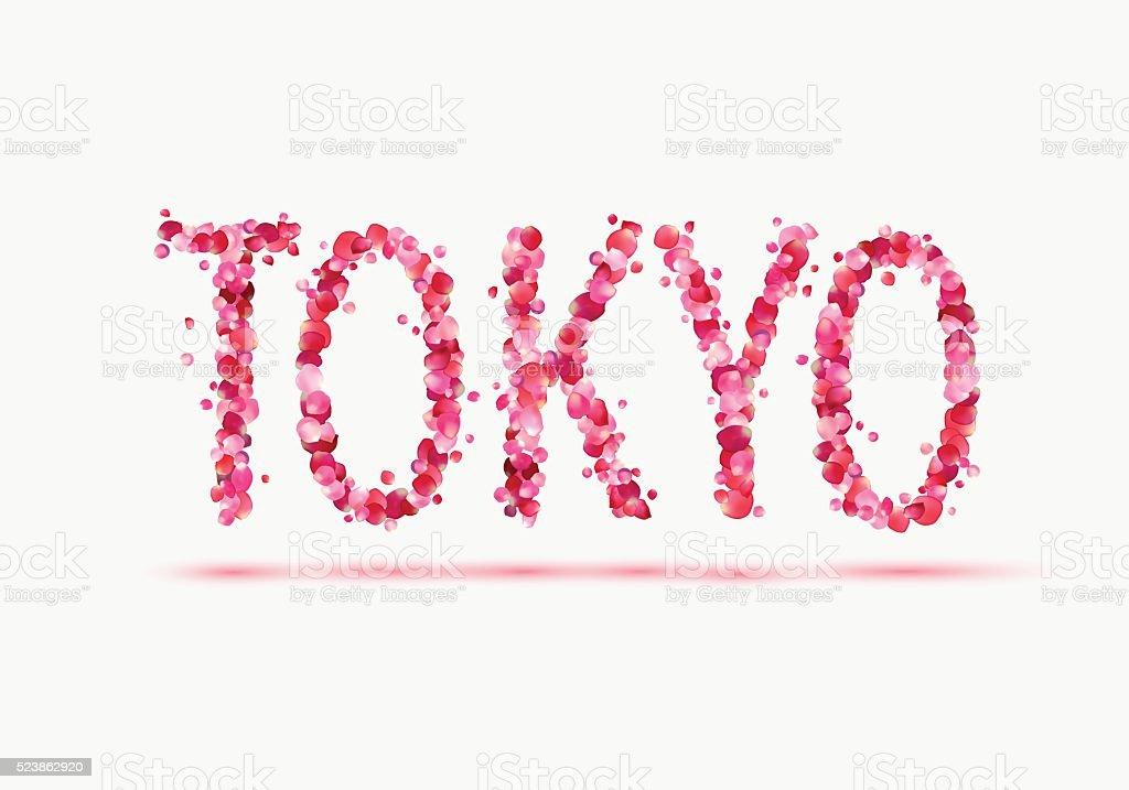 Tokyo City Name Of Pink Rose Petals Stock Illustration - Download