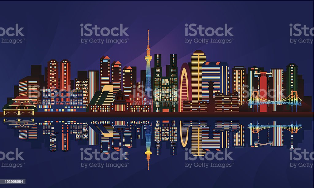 Tokyo city night skyline royalty-free stock vector art