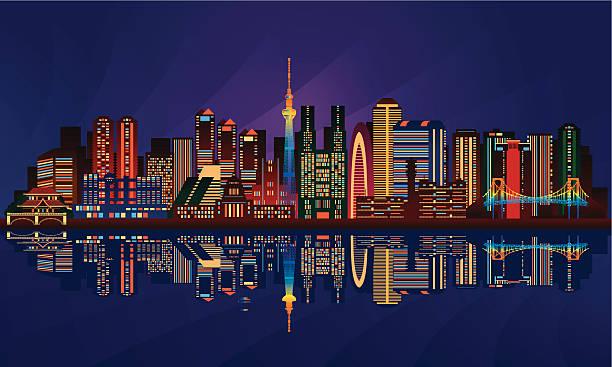 tokyo city night skyline - tokyo stock illustrations, clip art, cartoons, & icons