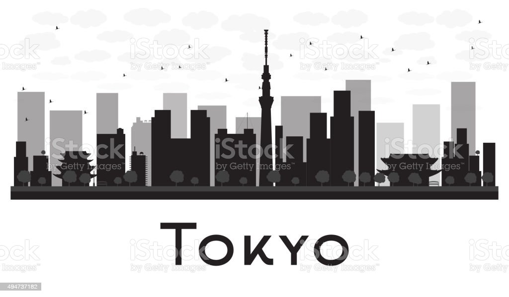Tokyo City skyline black and white silhouette. vector art illustration