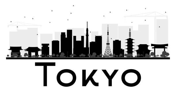 Tokyo City skyline black and white silhouette. Tokyo City skyline black and white silhouette. Vector illustration. Simple flat concept for tourism presentation, banner, placard or web site. Business travel concept. Cityscape with landmarks tokyo stock illustrations