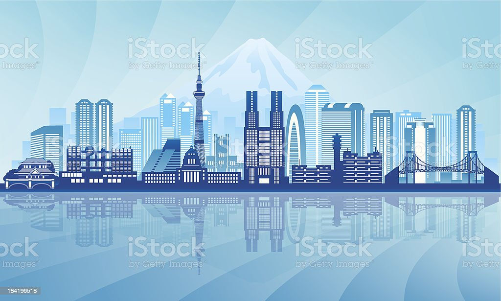 Tokyo city skyline detailed silhouette vector art illustration