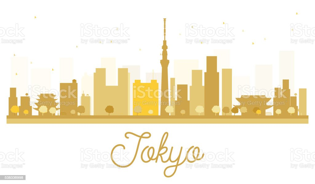 Tokyo City skyline golden silhouette. vector art illustration