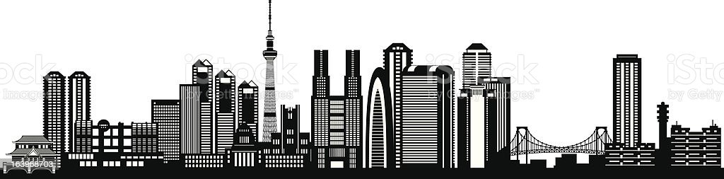 Tokyo city skyline silhouette vector art illustration