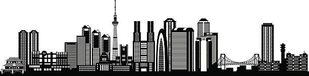 tokyo city skyline silhouette - tokyo stock illustrations, clip art, cartoons, & icons