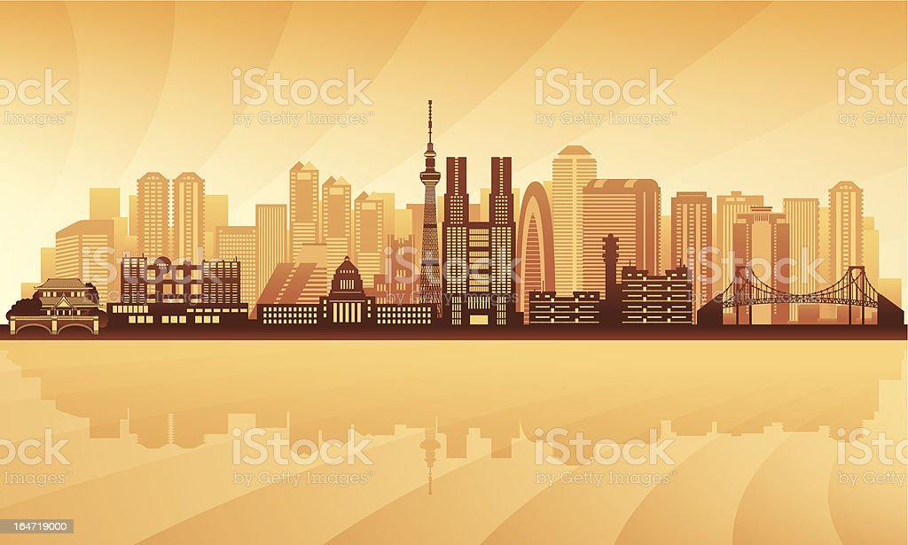 Tokyo city skyline vector art illustration