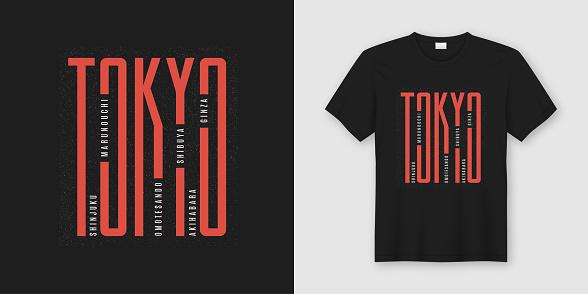 Tokyo city stylish t-shirt and apparel design, typography, print, vector illustration.