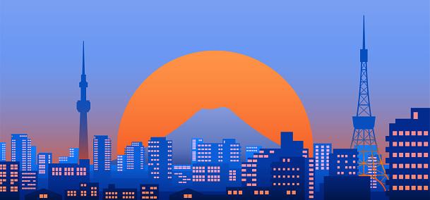 Tokyo city view at dusk