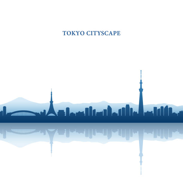 Tokyo Cityscape, Tokyo Tower and Tokyo Skytree, landmarks Tokyo Cityscape, Tokyo Tower and Tokyo Skytree, landmarks tokyo stock illustrations