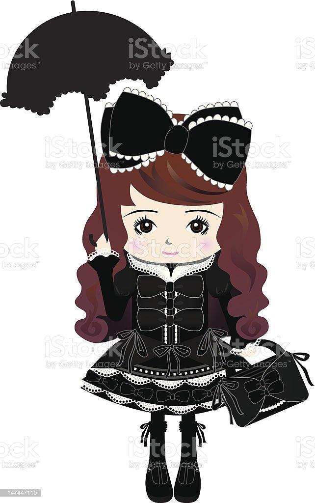 Tokyo Harajuku Gothic & Lolita Fashion Style Girl vector art illustration