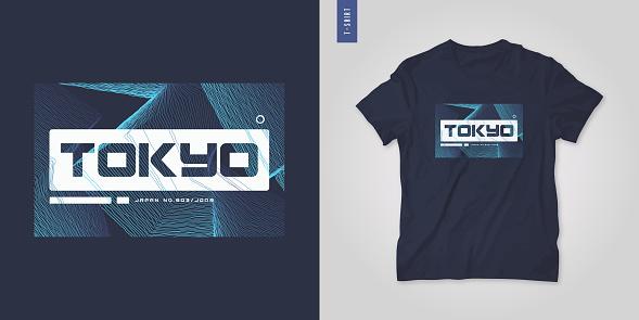 Tokyo Japan. Abstract geometric t-shirt vector design, poster, print, template