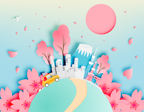 Tokyo japan city in spring with paper art style vector illustration