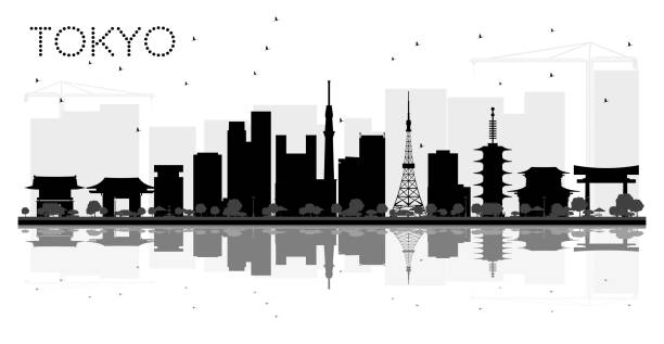 Tokyo Japan City skyline black and white silhouette with Reflections. Tokyo Japan City skyline black and white silhouette with Reflections. Vector illustration. Business travel concept. Tokyo Cityscape with landmarks. tokyo stock illustrations