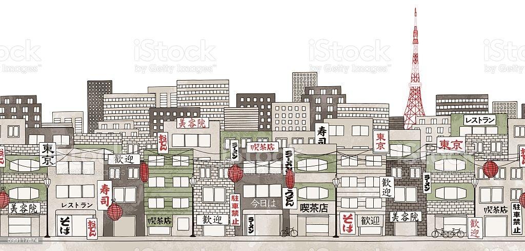 Tokyo, Japan - seamless banner of Tokyo's skyline vector art illustration