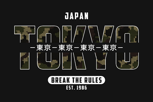 Tokyo, Japan slogan t-shirt design with knitted camouflage texture. Tee shirt in military and army style with knit camo and inscription in Japanese with the translation: Tokyo.