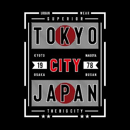 tokyo japan typography design for t shirt, vector illustration