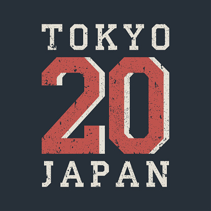 Tokyo, Japan typography for design clothes, t-shirt. Graphics for print product with grunge. Stamp for number athletic apparel. Vector