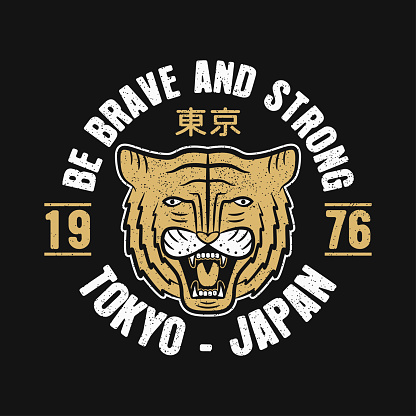 Tokyo, Japan typography graphics for slogan t-shirt with japanese tiger.