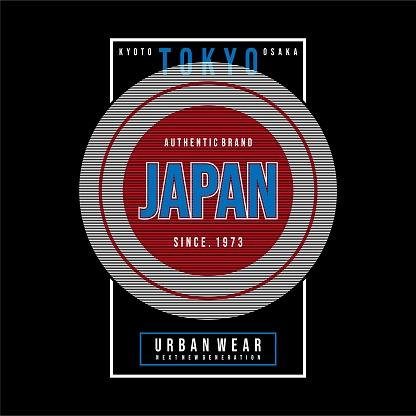 Tokyo, japan typography tee shirt design graphic, vector illustration