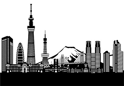 Tokyo landmark buildings and mount fuji icon set