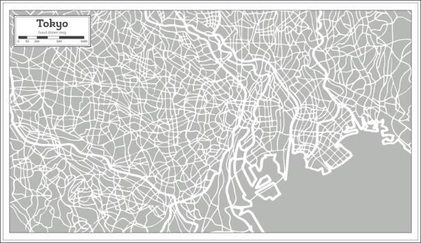 tokyo map in retro style. hand drawn. - tokyo stock illustrations, clip art, cartoons, & icons