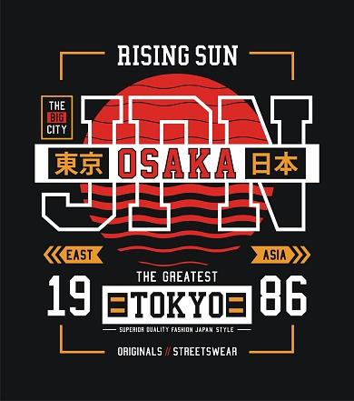 Tokyo, Osaka slogan for t shirt. Vector illustrations