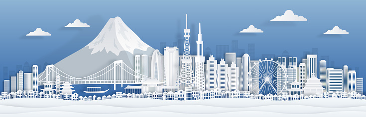 Tokyo paper cut. Japan city skyline panorama with famous landmarks and architecture for travel the world poster or postcard. Vector cityscape