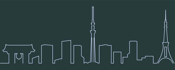 tokyo single line skyline - tokyo stock illustrations, clip art, cartoons, & icons