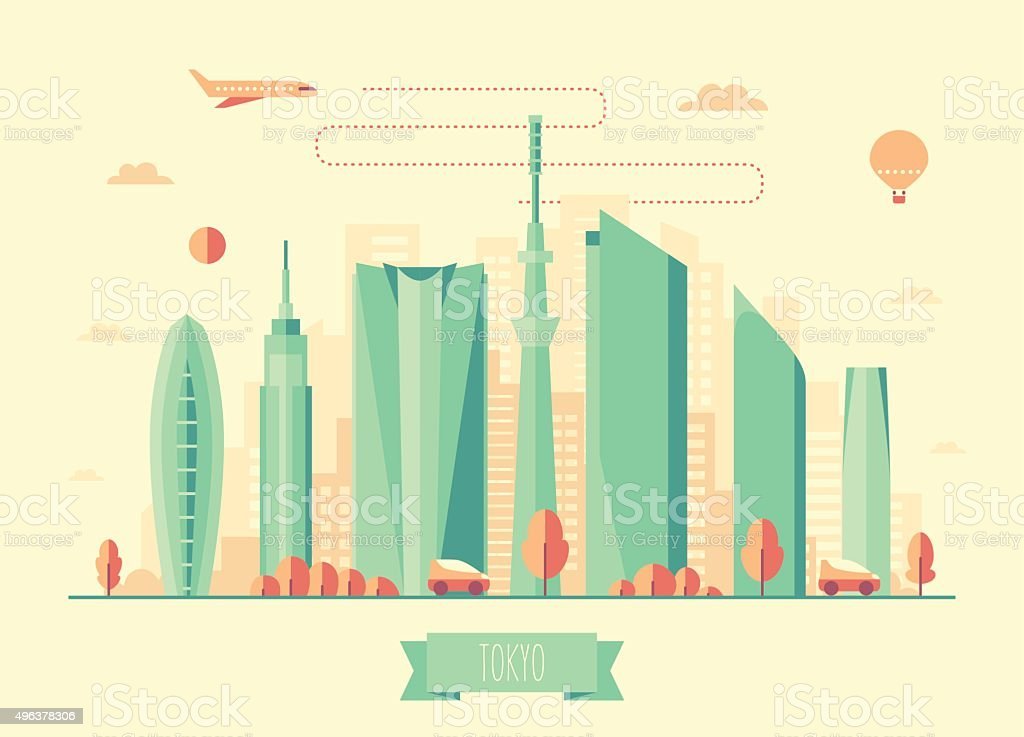 Tokyo skyline architecture vector design vector art illustration