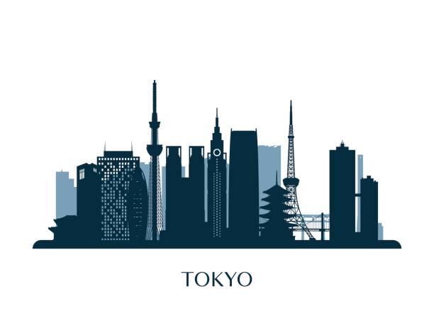 tokyo skyline, monochrome silhouette. vector illustration. - tokyo stock illustrations, clip art, cartoons, & icons