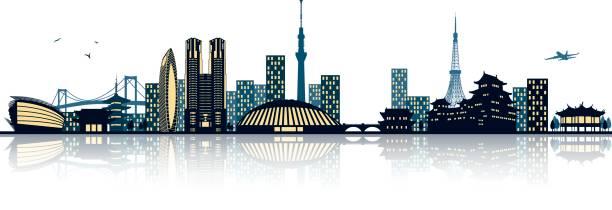 tokyo skyline tokyo skyline airport silhouettes stock illustrations