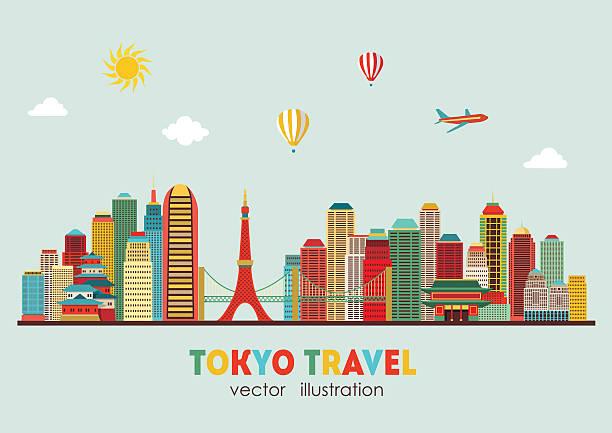 tokyo skyline. vector illustration - tokyo stock illustrations, clip art, cartoons, & icons