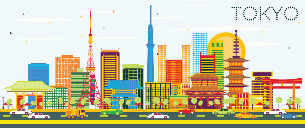 tokyo skyline with color buildings and blue sky. - tokyo stock illustrations, clip art, cartoons, & icons