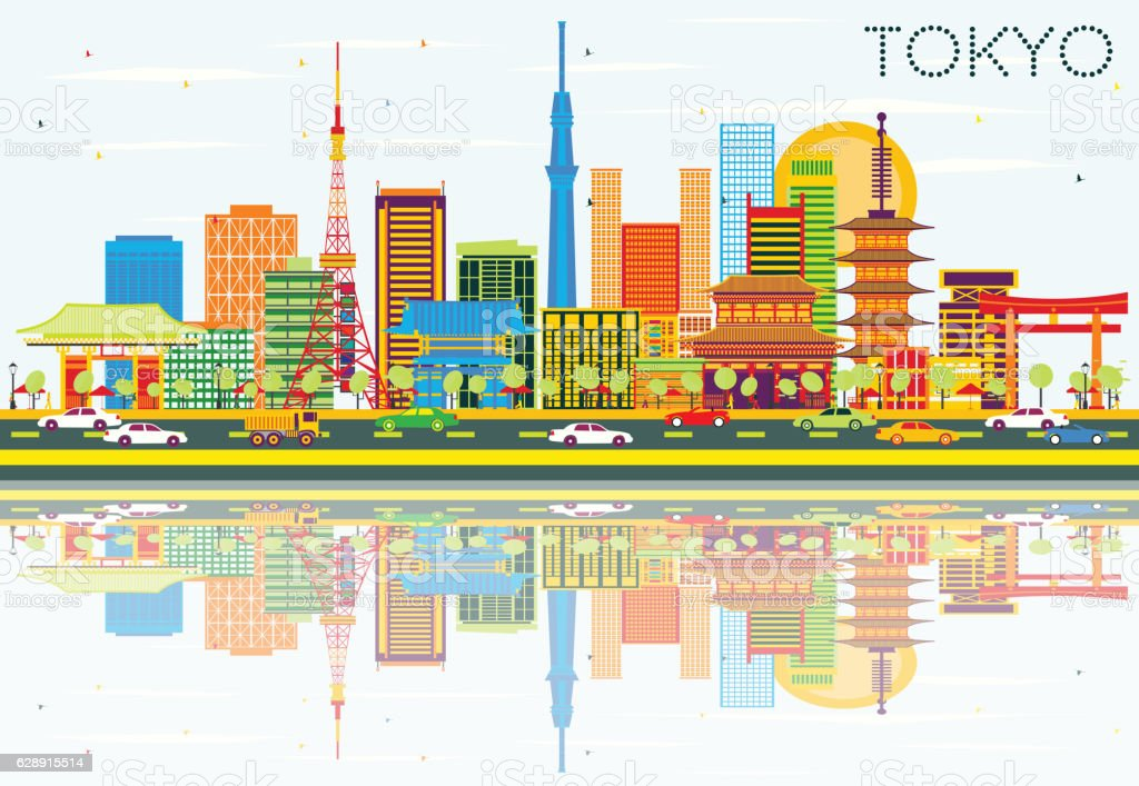 Tokyo Skyline with Color Buildings, Blue Sky and Reflections. vector art illustration
