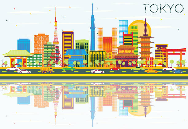 tokyo skyline with color buildings, blue sky and reflections. - 全景点のイラスト素材/クリップアート素材/マンガ素材/アイコン素材