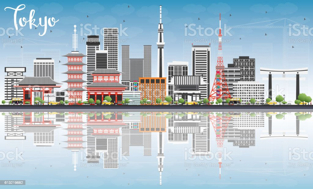 Tokyo Skyline with Gray Buildings, Blue Sky and Reflections. vector art illustration