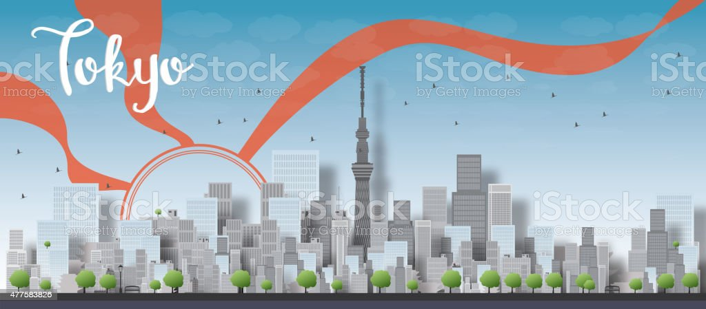 Tokyo skyline with skyscrapers and sun vector art illustration