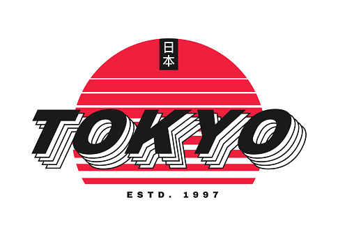 Tokyo t-shirt design. T shirt design with Tokyo typography for tee print, poster and clothing. Japanese inscriptions - Japan