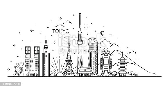 Set of flat icons of Tokyo landmarks and culture features vector illustration