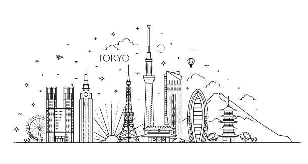 Tokyo vacation icons set. Vector icons Set of flat icons of Tokyo landmarks and culture features vector illustration tokyo stock illustrations
